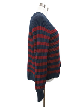 Veronica Beard Navy Burgundy Stripes Cotton Sweater 2