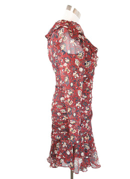 Veronica Beard Red Burgundy Floral Print Silk Dress 2