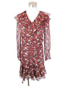 Veronica Beard Red Burgundy Floral Print Silk Dress 1