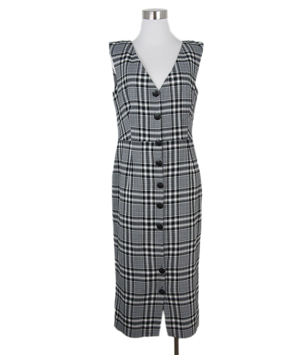 Veronica Beard black white plaid dress 1