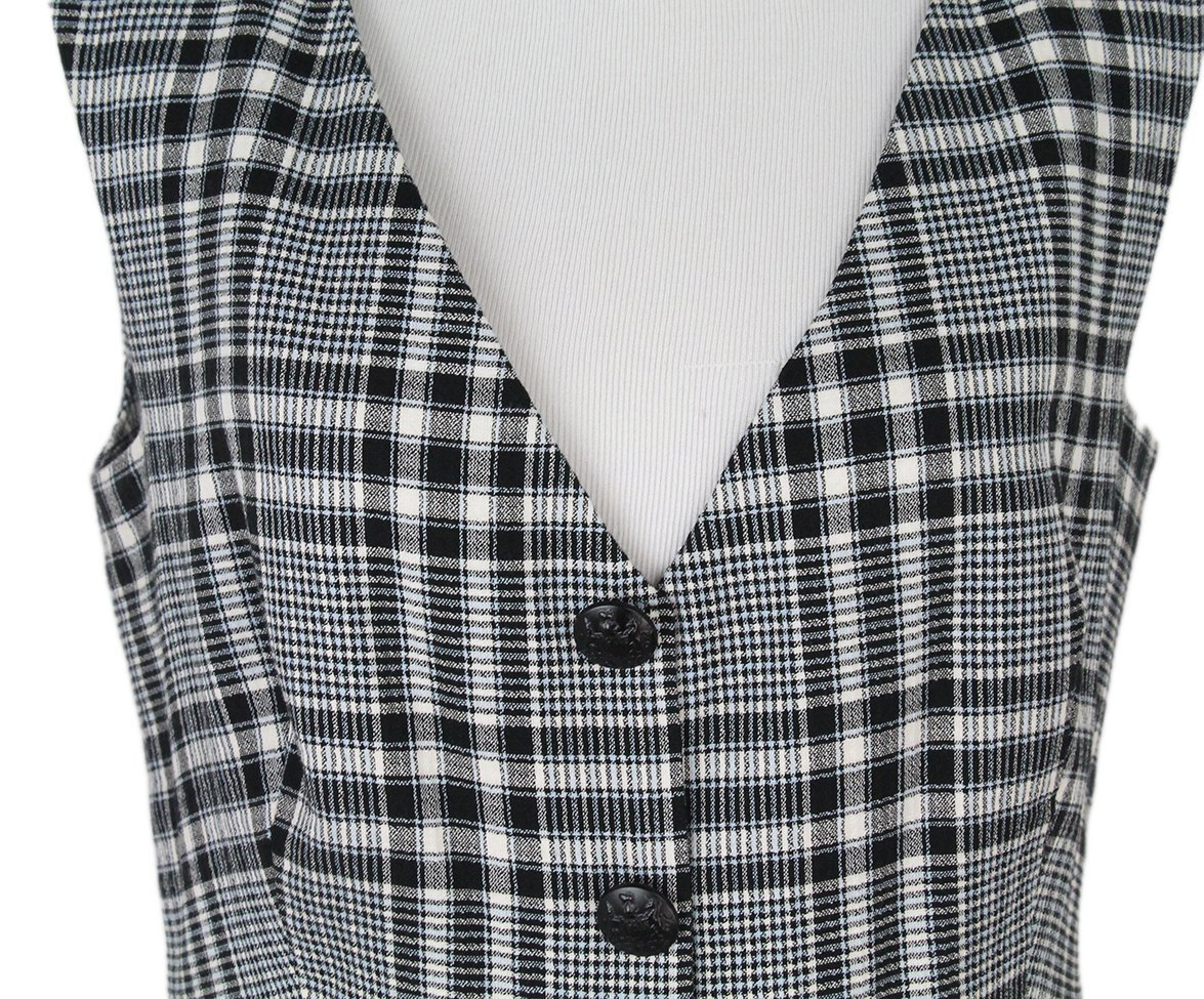 Veronica Beard black white plaid dress 6