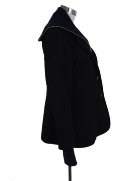 Veronica Beard Black Wool Blue Knit Trim Jacket 2