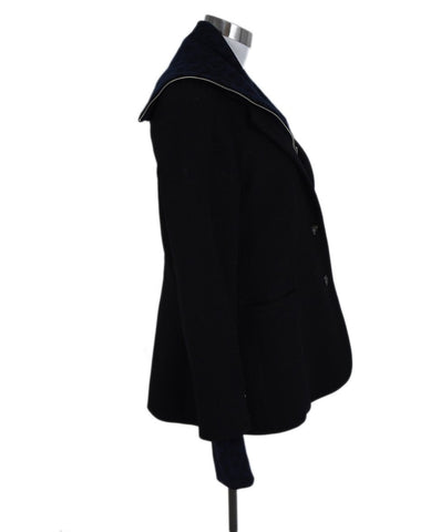 Veronica Beard Black Wool Blue Knit Trim Jacket 1