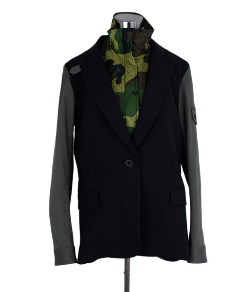 Veronica Beard Black Wool Camouflage w/dickie Jacket 1