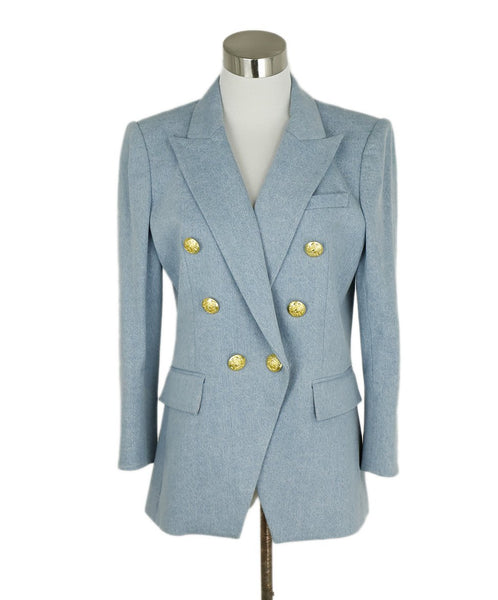 Veronica Beard Blue Light Denim Cotton Blazer Jacket 1