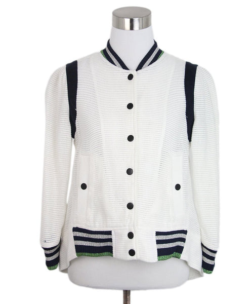 Veronica Beard white navy trim bomber jacket 1
