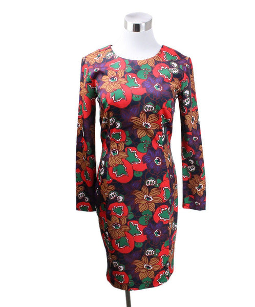Veronica Beard Red Brown Purple Floral Polyester Dress