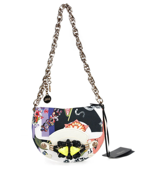 Versace Black White Multi Color Grossgrain Handbag