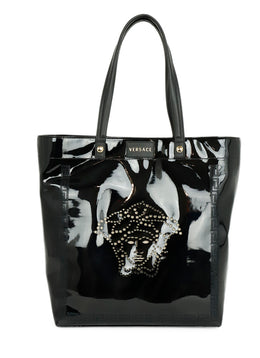 Versace Black Patent Leather Medusa Tote Bag 1