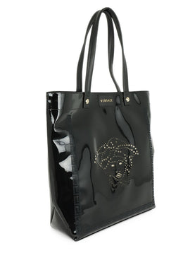 Versace Black Patent Leather Medusa Tote Bag 2
