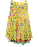 Versace Yellow Floral Silk Red Blue Pleated Skirt