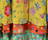 Versace Yellow Floral Silk Red Blue Pleated Skirt 3
