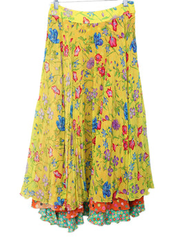 Versace Yellow Floral Silk Red Blue Pleated Skirt 1