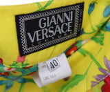 Versace Yellow Floral Silk Red Blue Pleated Skirt 2