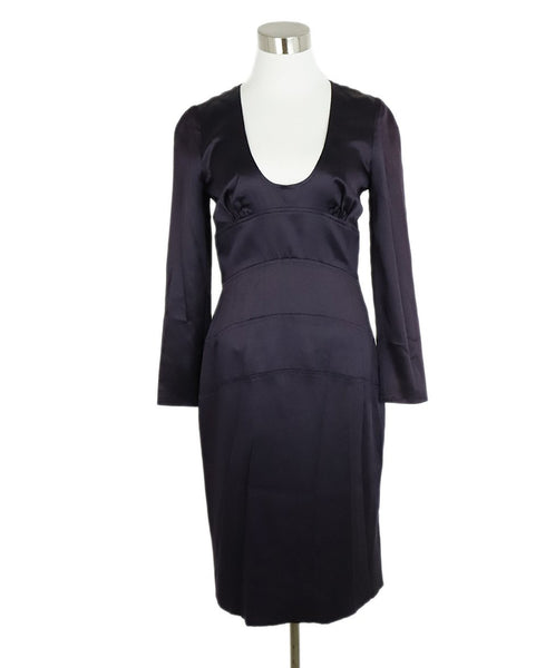 Versace Purple Silk Long Sleeve Evening Dress 1