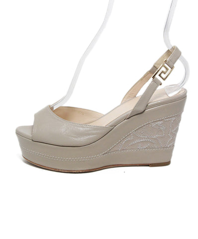 Versace Taupe Leather Embroidery Wedge Sandals 1