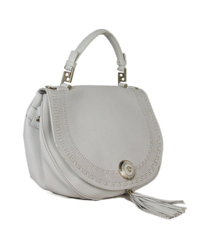 Versace white leather tassels bag 1