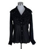Viktor & Rolf Black Silver Silk Tweed Top Blouse 1