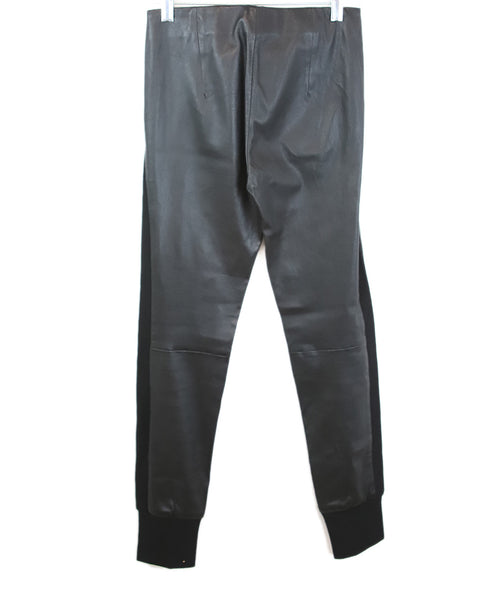 Vince Black Leather with Knit Ribbed Side Pannels Pants 2