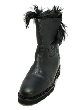 Vince Black Leather Fur Lining Boots 1