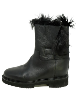 Vince Black Leather Fur Lining Boots 2
