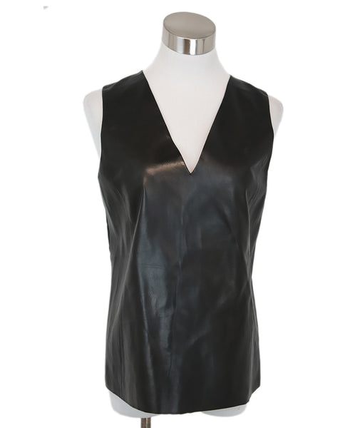 Vince Black Leather Silk Top 1