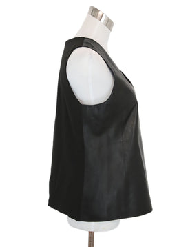 Vince Black Leather Silk Top 2