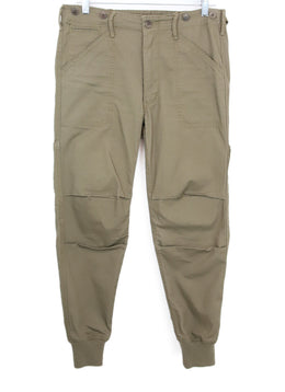 Vince Olive Cotton Cargo Pants with Stretchy Knit Ankle Detail 1