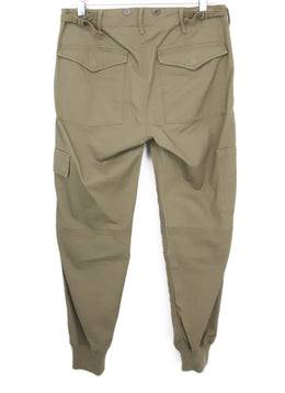 Vince Olive Cotton Cargo Pants with Stretchy Knit Ankle Detail 2