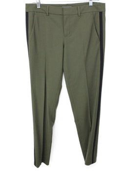 Vince Olive Green Pants with Black Trim on Side 1