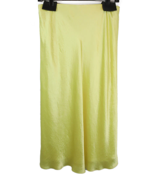 Vince Yellow Satin Slip Skirt 2