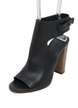 Vince Black Leather Wood Heels 1