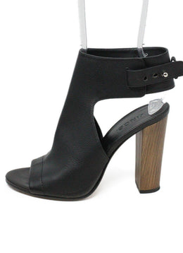 Vince Black Leather Wood Heels 2