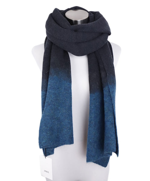 Vince Shawl Charcoal Teal Wool Mohair Scarf 1