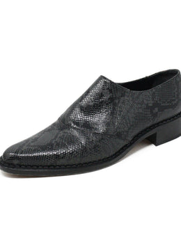 Vince Black Grey Snake Skin Leather Loafers Sz 40