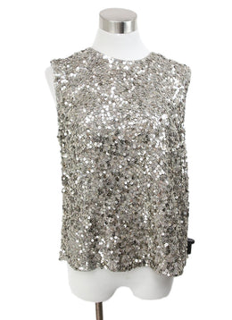 Vince Metallic Silver Sequins Top 1