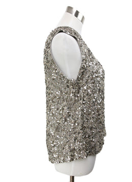 Vince Metallic Silver Sequins Top 2