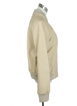 Vince Sand Leather Ribbed Cotton Jacket 2