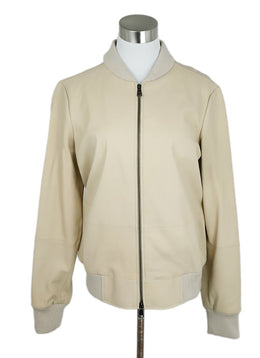 Vince Sand Leather Ribbed Cotton Jacket 1