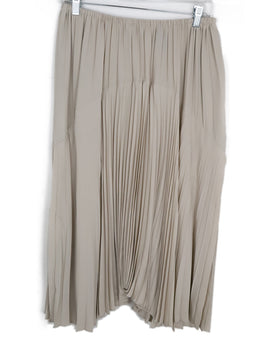 Vince Beige Polyester Pleated Skirt 1