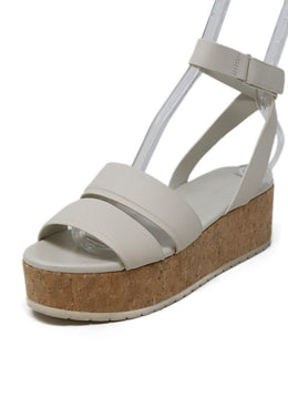 Vince White Leather Platform Sandals