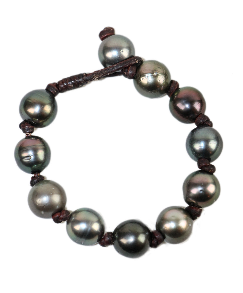 Vincent Peach Grey Tahitian Pearls Brown Leather Cord Bracelet