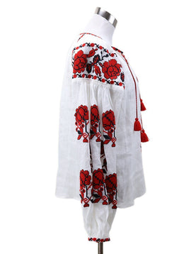 Vita Kin White Red Black Embroidery Blouse 1