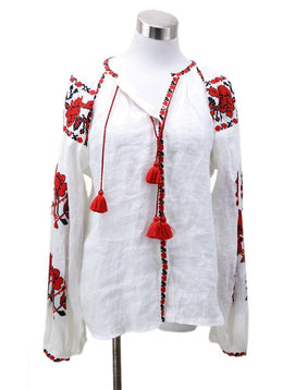 Vita Kin White Red Black Embroidery Blouse