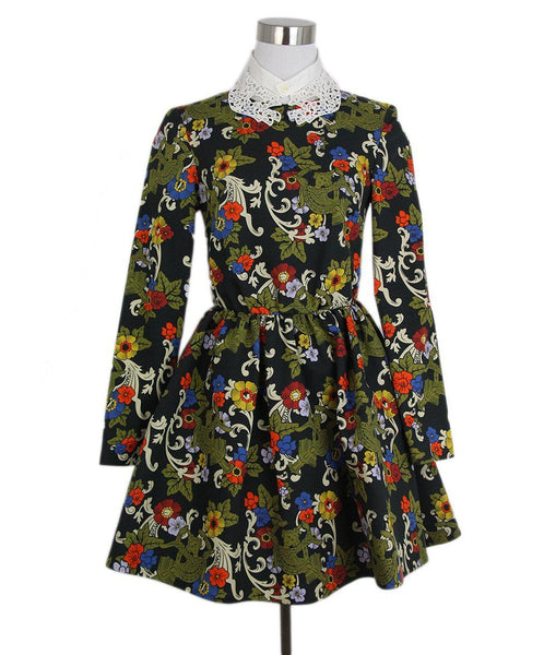 Vivetta black olive yellow blue white collar dress 1
