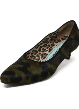 Warren Edwards Green Camouflage Fur Kitten Heels 1