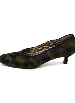 Warren Edwards Green Camouflage Fur Kitten Heels 2