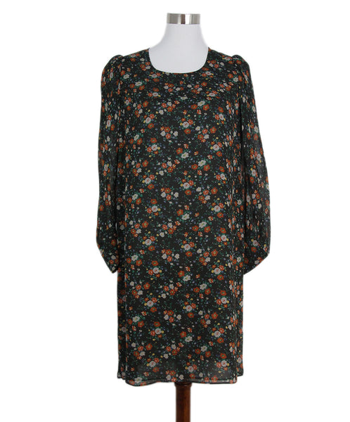 Watanabe Black Orange Floral Print Silk Dress 1