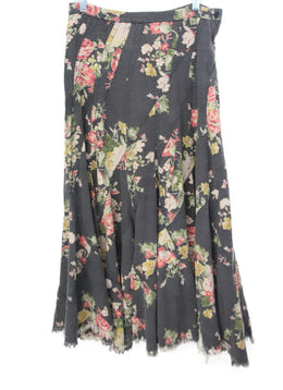 Watanabe Black Floral Print Cotton Skirt 1