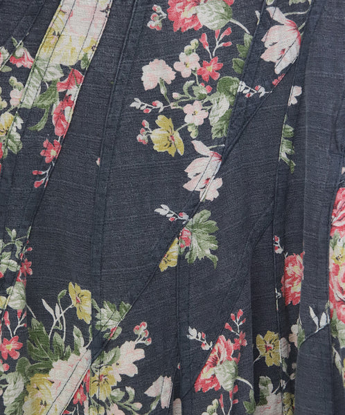 Watanabe Black Floral Print Cotton Skirt 3